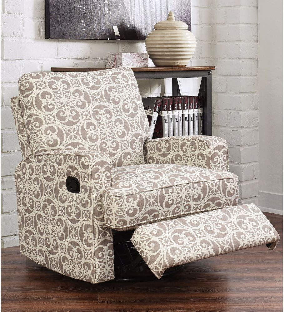 Glider Recliner Chair Grey Floral Swivel Contemporary Upholstery Furniture New Abbysonliving Co Glider Recliner Chair Couch Upholstery Swivel Glider Recliner