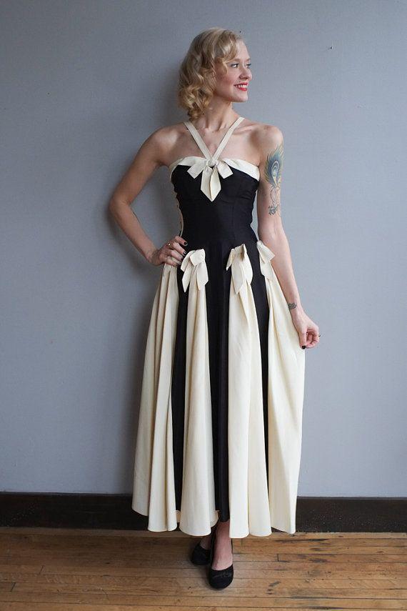 1940s Gown // Debutante Tuxedo Gown // vintage 40s gown | Debutante ...