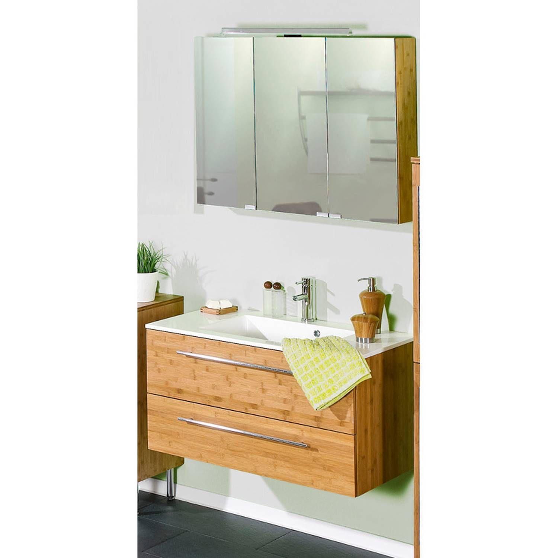 Badmöbel Waschplatz Set Bambus massiv lackiert HANOI-04 ...