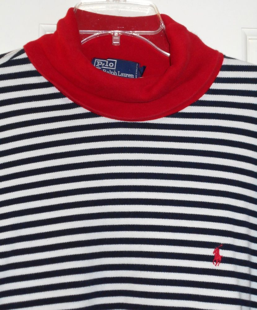 Vtg 90s Ralph Lauren Blue White Sailor Stripe Red Patriotic ...