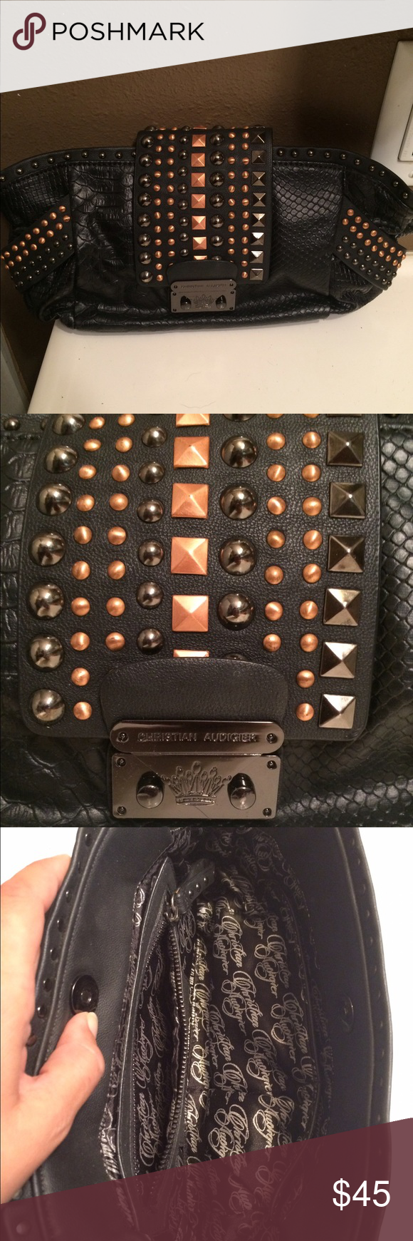"""Christian Audigier Studded Clutch Purse Super cute clutch only used once! Perfect condition. About 13"""" across and 6"""" in height. Christian Audigier Bags Clutches & Wristlets"""