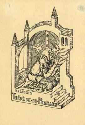Bookplate by Kálmán Tichy for Therese de Prahars, 1915c.
