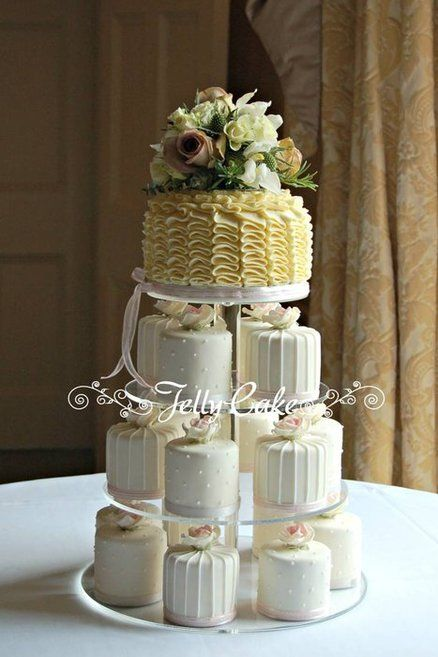 Roses and Ruffles Wedding Cakes - by JellyCake @ CakesDecor.com - cake decorating website