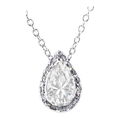 Pear shape solitaire diamond halo pave pendant necklace 120 tcw in pear shape solitaire diamond halo pave pendant necklace 120 tcw in 14 karat white gold aloadofball Gallery