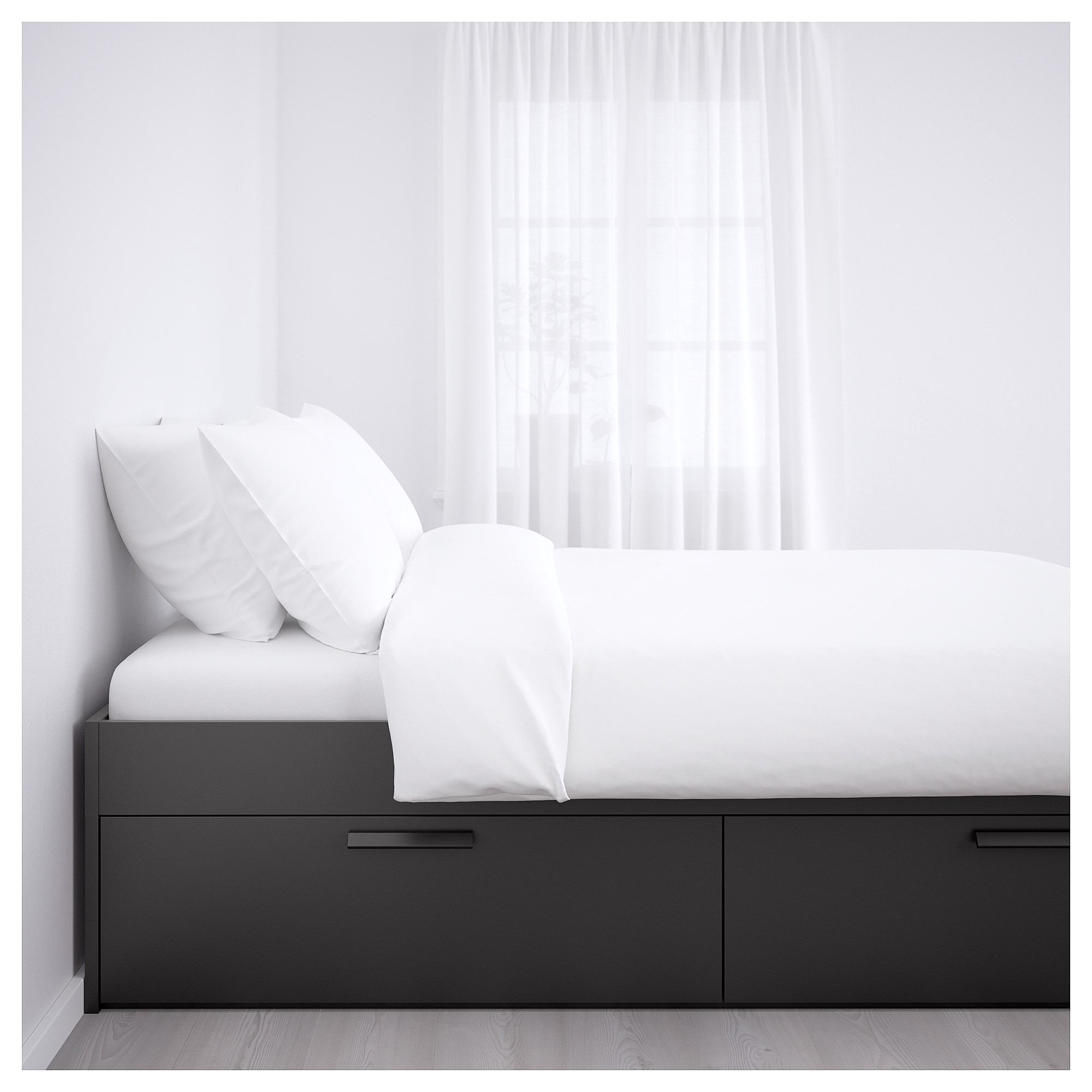 Ikea Brimnes Black Leirsund Bed Frame With Storage Bed Frame