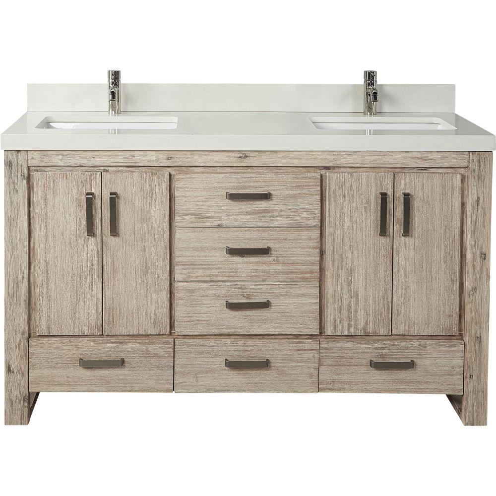 The Fairmont Designs 1530 V6021d Double Bowl Bathroom Vanity Sand Pebble 60 X 21