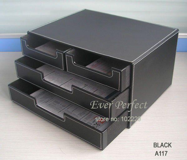 4 Drawer Black Leather Office Filing Cabinet Desk Doent File Organizer Holder Storage Box A117