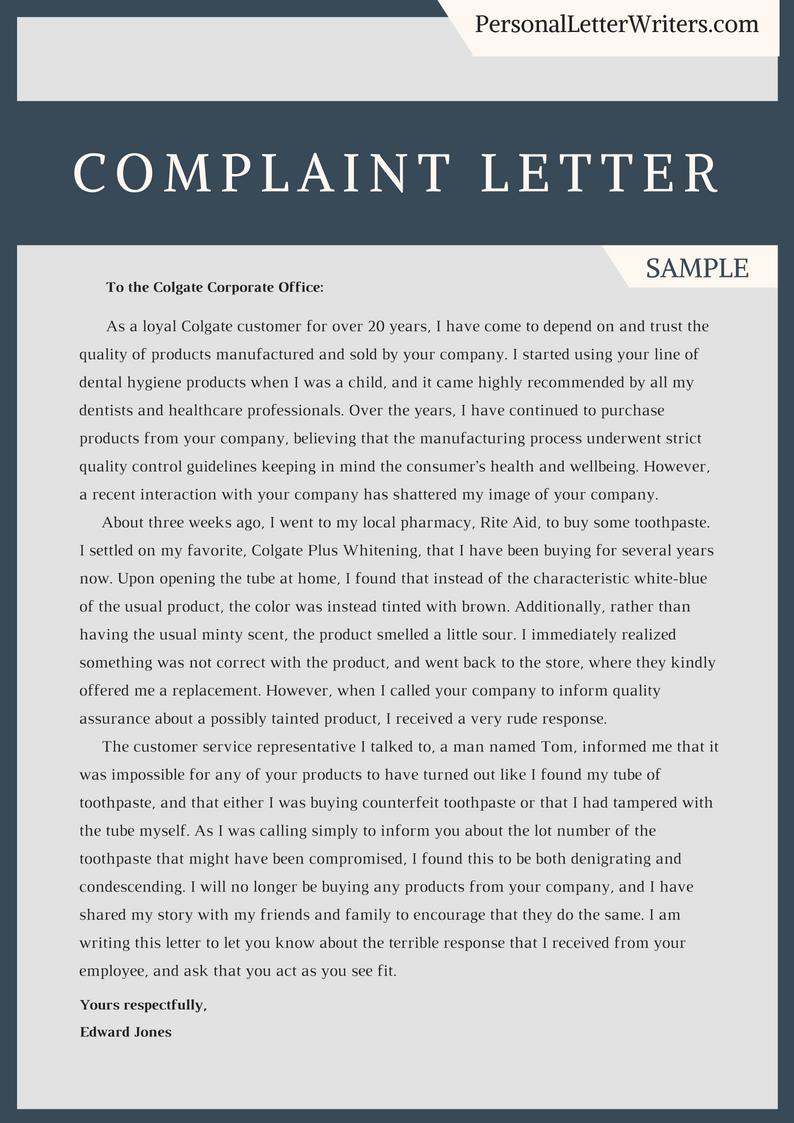 Complaint Letters Samples Make Your Complaint Letter Stronger With This Complaint Letter .