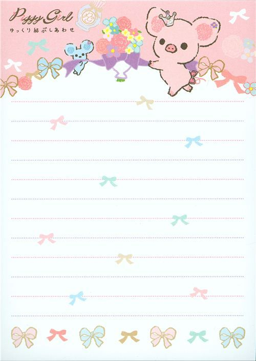 Cute Piggy Girl Memo Pad Pig Ribbon 5 Hojas De Notas