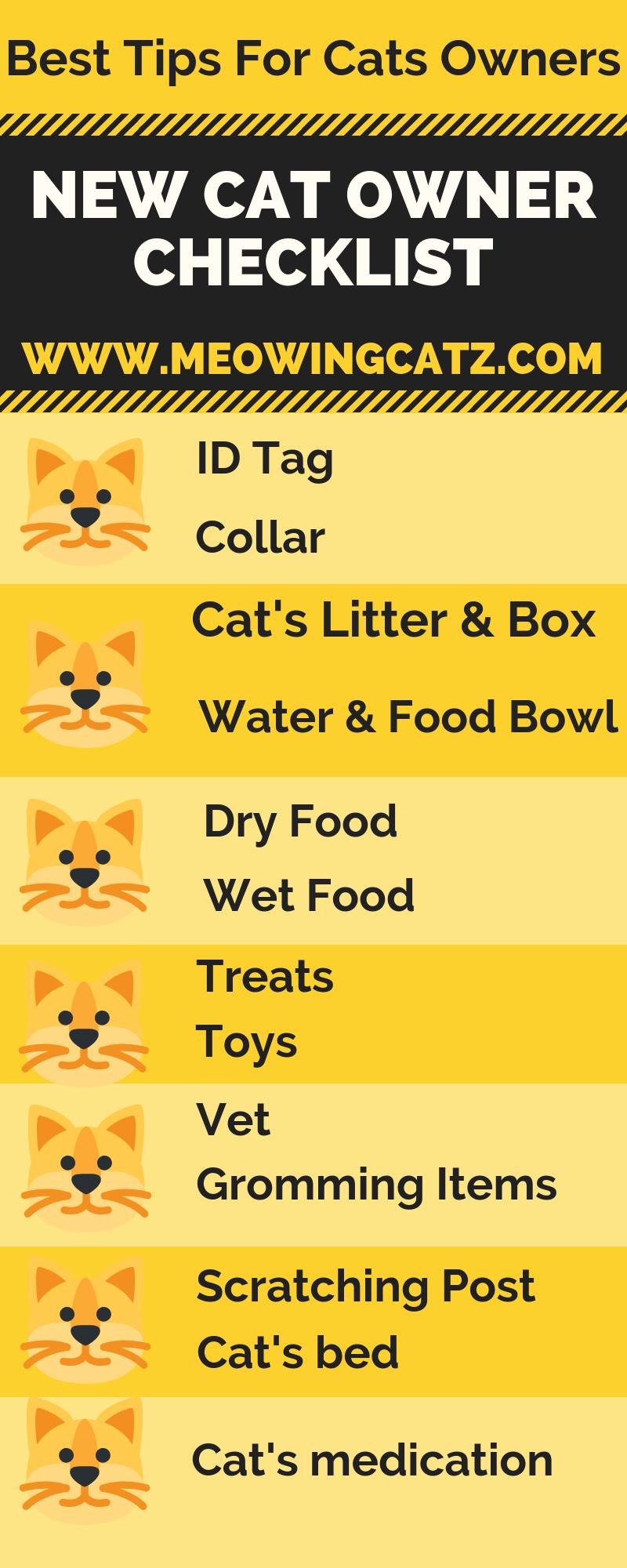 New Cat Checklist Cat Checklist Cat Hacks Cat Care Tips