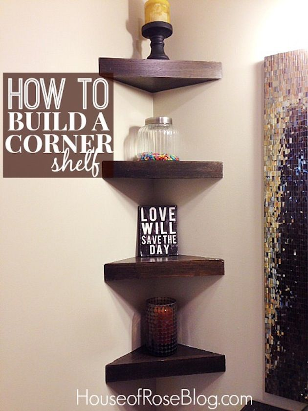 how to build a corner shelf - maybe use strong command strips