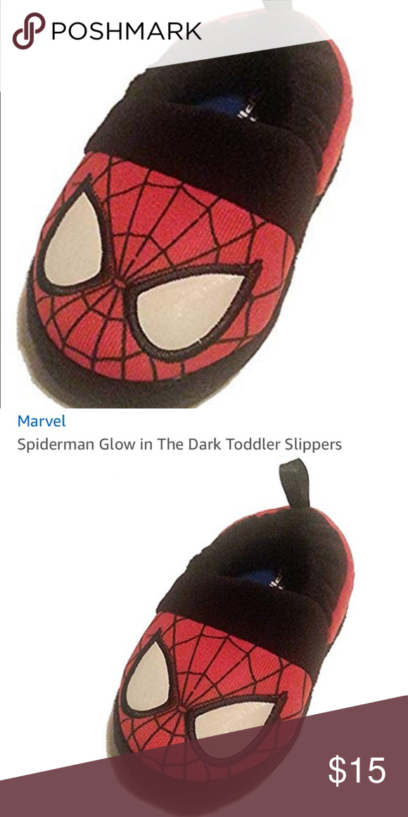 New Spiderman Glow In The Dark Slippers Size 9 10 Marvel Shoes Toddler Slippers Glow In The Dark