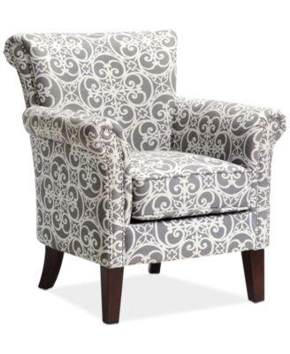 JLA Sarah Printed Fabric Accent Chair Direct Ship