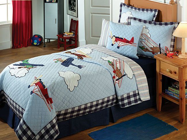 Vintage Planes Quilt Set New Boys Room Airplane Room