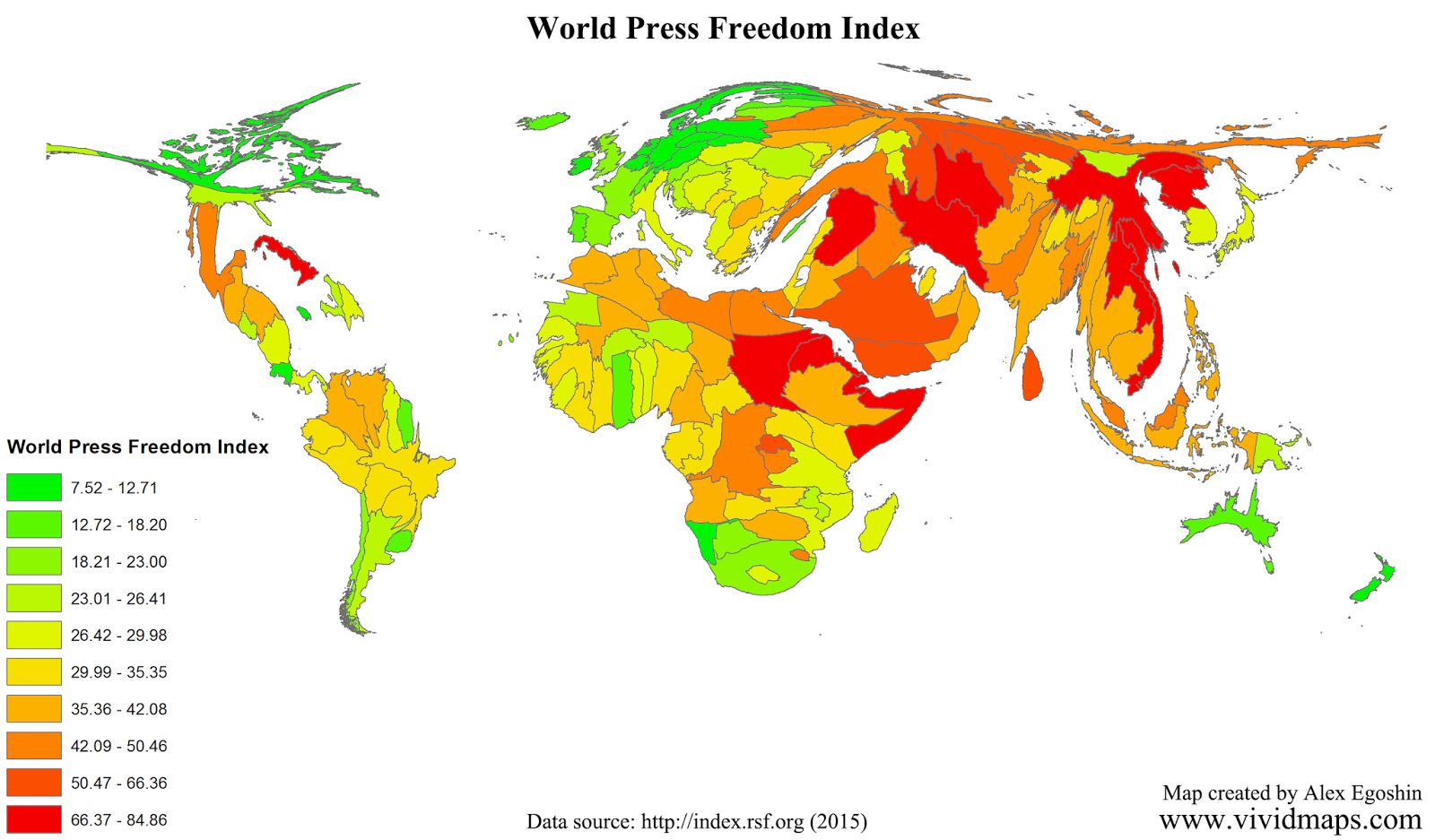 World Press Freedom Index 2015 Vivid Maps World Press World Map