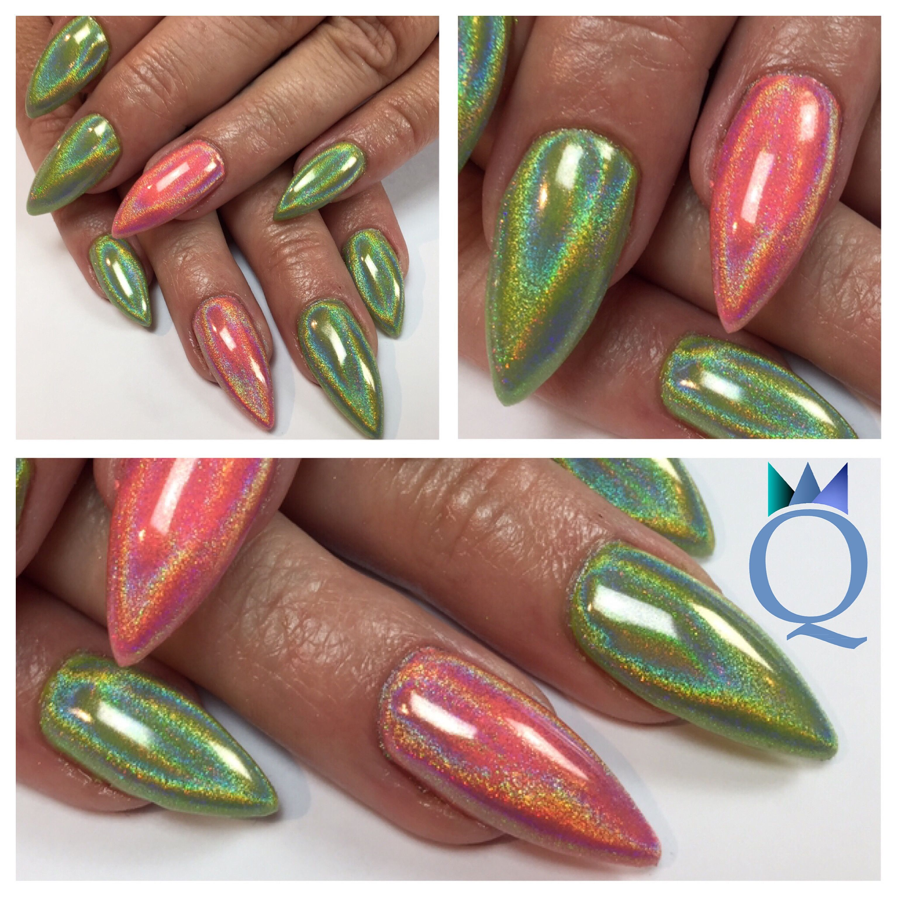 Stilettosnails Gelnails Nails Pink Green Akyado Holopigment