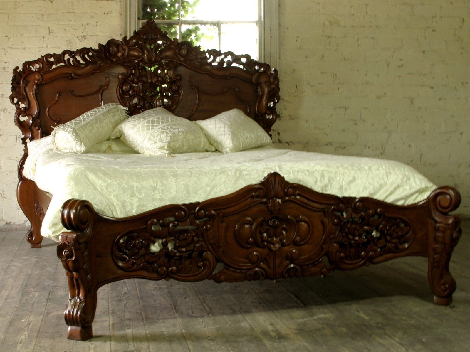 Solid Mahogany Bedroom Furniture Rococo 5 King Size French Style Louis Solid Mahogany Bed Brand