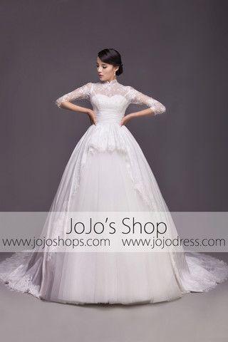 Modest Wedding Dress with Mandarin Collar and Long Sleeves | G2005 ...