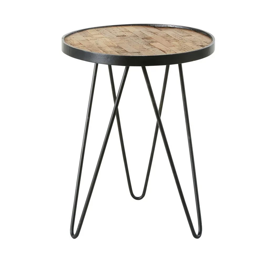 Tavolino da salotto in teak e metallo nero, H 50 cm Moapa