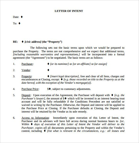 10+ Real Estate Letter Of Intent Templates u2013 Free Sample, Example - letter of intent formats