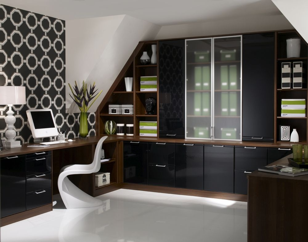 Attirant Home Office Cabinetry Design. Office:fascinating Modern Home Office Design  With U Shape Wooden