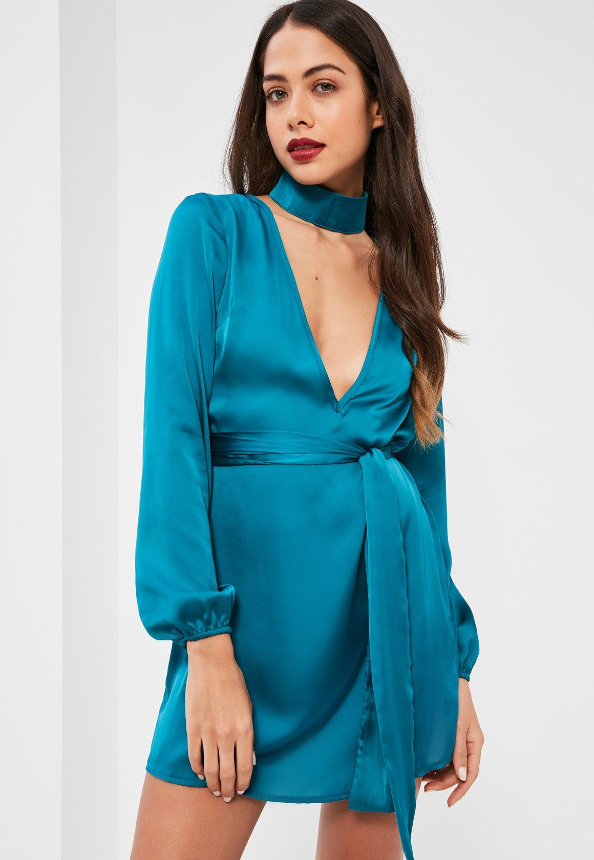 Missguided - Blue Silky Choker Neck Swing Dress | Apparel ...