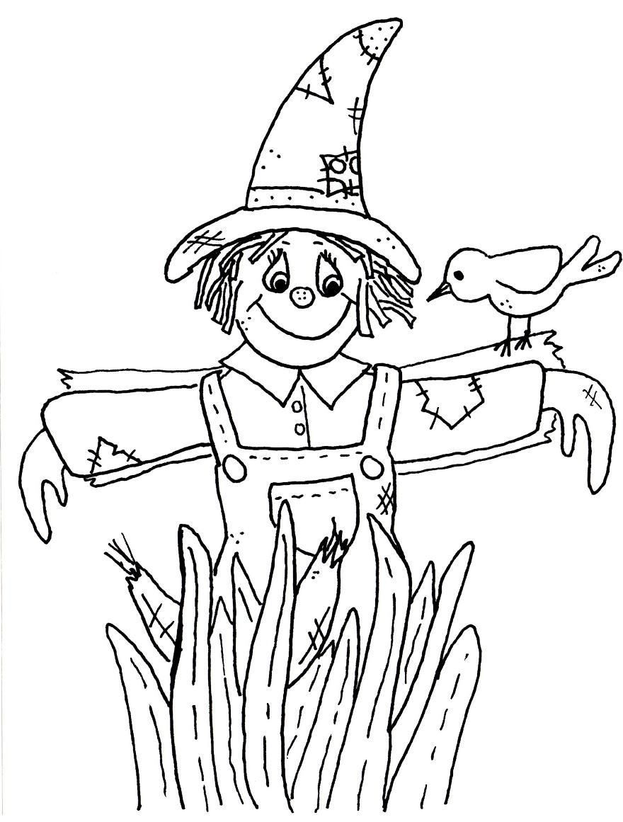 scarecrow coloring pages Free