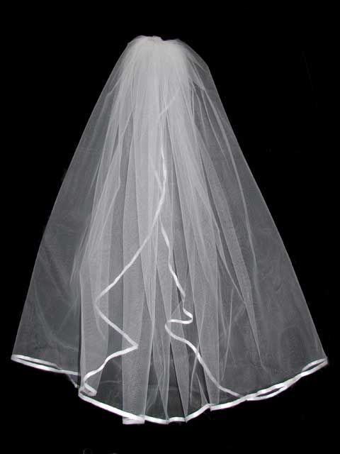 Vail For Wedding Two Tier Tulle Veil With Satin Ribbon Edging 72 Width X 20