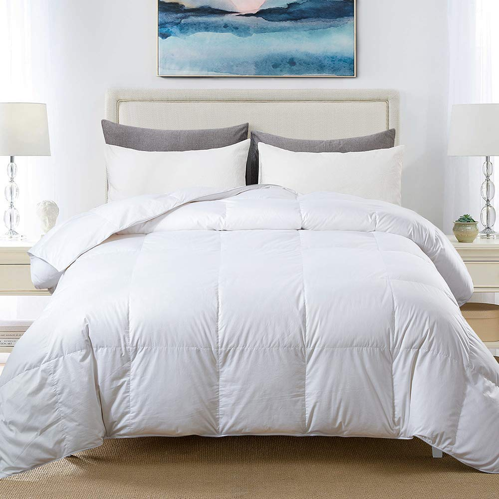 Amazon Com Cosybay 100 Cotton Quilted Down Comforter White Goose