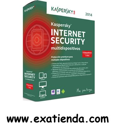 Ya disponible Antiv. Kaspersky is 2014 5lc multi device   (por sólo 66.95 € IVA incluído):   - Kaspersky Internet Security 2014 5LC Multi-Device - Compatible con: Android, Mac OS, Windows - Kaspersky Anti Virus 2014 es el núcleo del sistema de seguridad de tu ordenador y proporciona protección en tiempo real frente a los programas maliciosos. Con la más avanzada tecnología, funciona en segundo plano ofreciendo protección en la nube en tiempo real frente a peligros nu