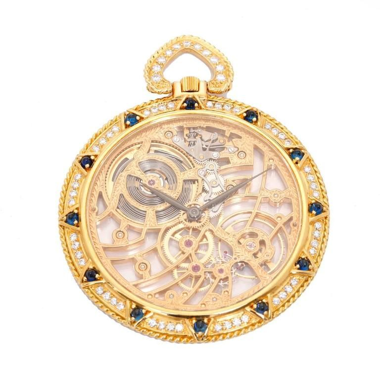 b565b32bc944 Audemars Piguet Yellow Gold Diamond Sapphire Manual winding Pocket ...