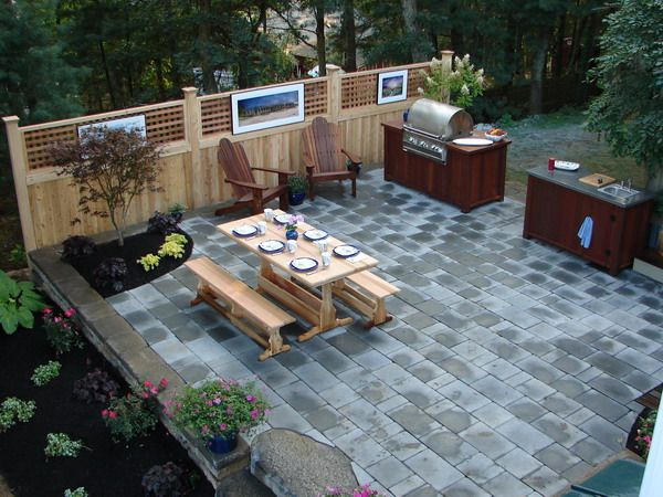 Landscape design with picnic table google search for Outdoor kitchen designs for small spaces
