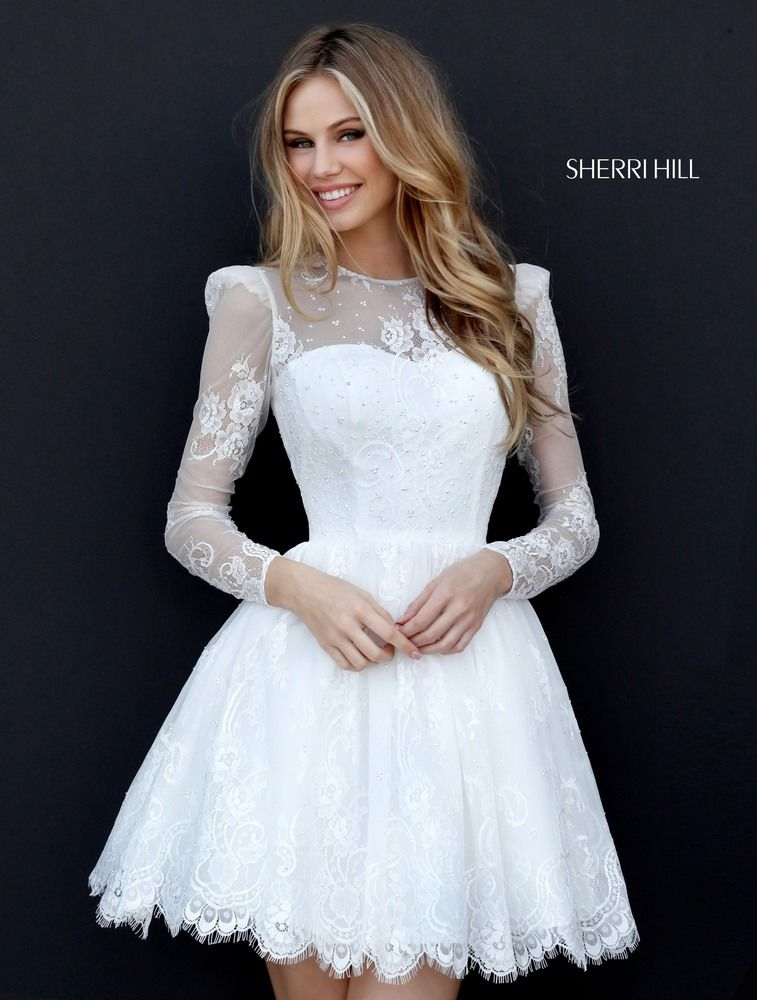 Sherri Hill 51417 Lace Cocktail Homecoming Boho White Prom ...