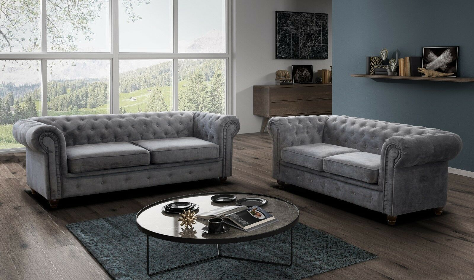 Chesterfield Sofa Infinity Fabric 3 2 Seater Armchair Grey Silver Ebay Green Sofa Living Room Sofa Leather Corner Sofa