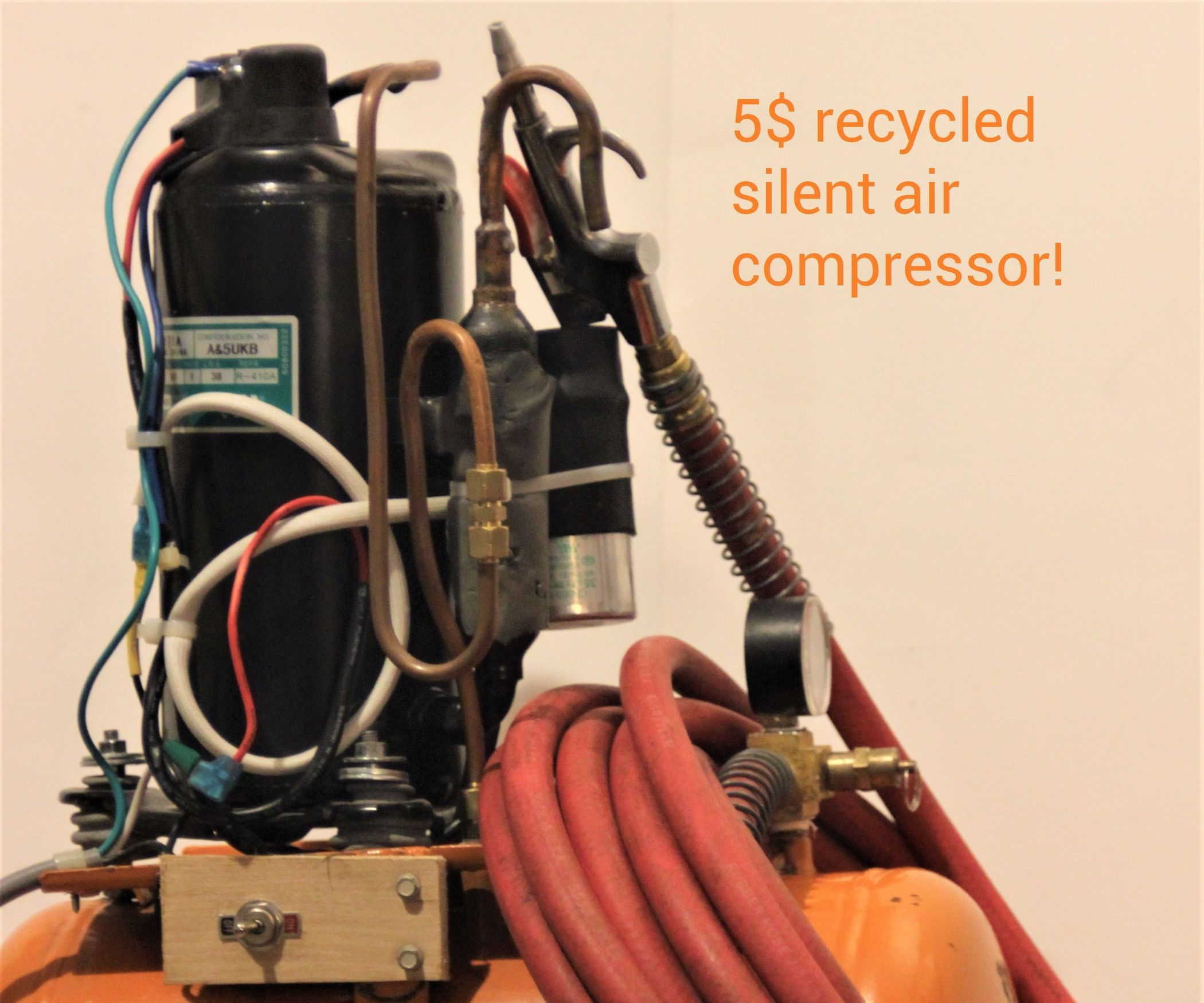 Silent Air Compressor Made of Recycled Rubbish! Air