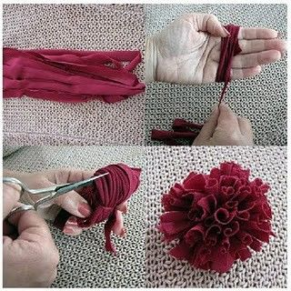 Carnations, use jersey with lots of stretch. Cut one long strip 3.70 meters, and 1-2 cm wide.   Wrap around palm tightly. Take off carefully, tie knot with a short strip.  When secure, cut upper part.   Some petals bigger than others, trim until petals ar even.
