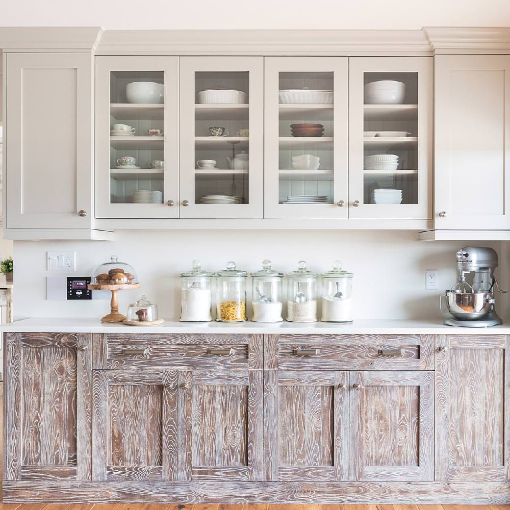 Transitional two-color kitchen, with shaker doors in a gray-white ...