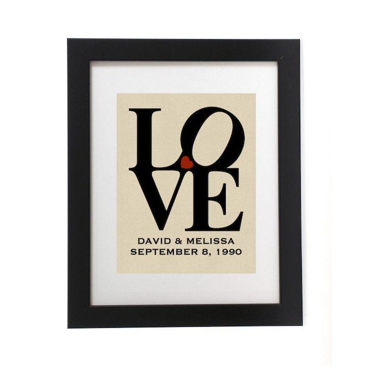 Wedding Anniversary Love Print Burlap Art Where The Heart Is