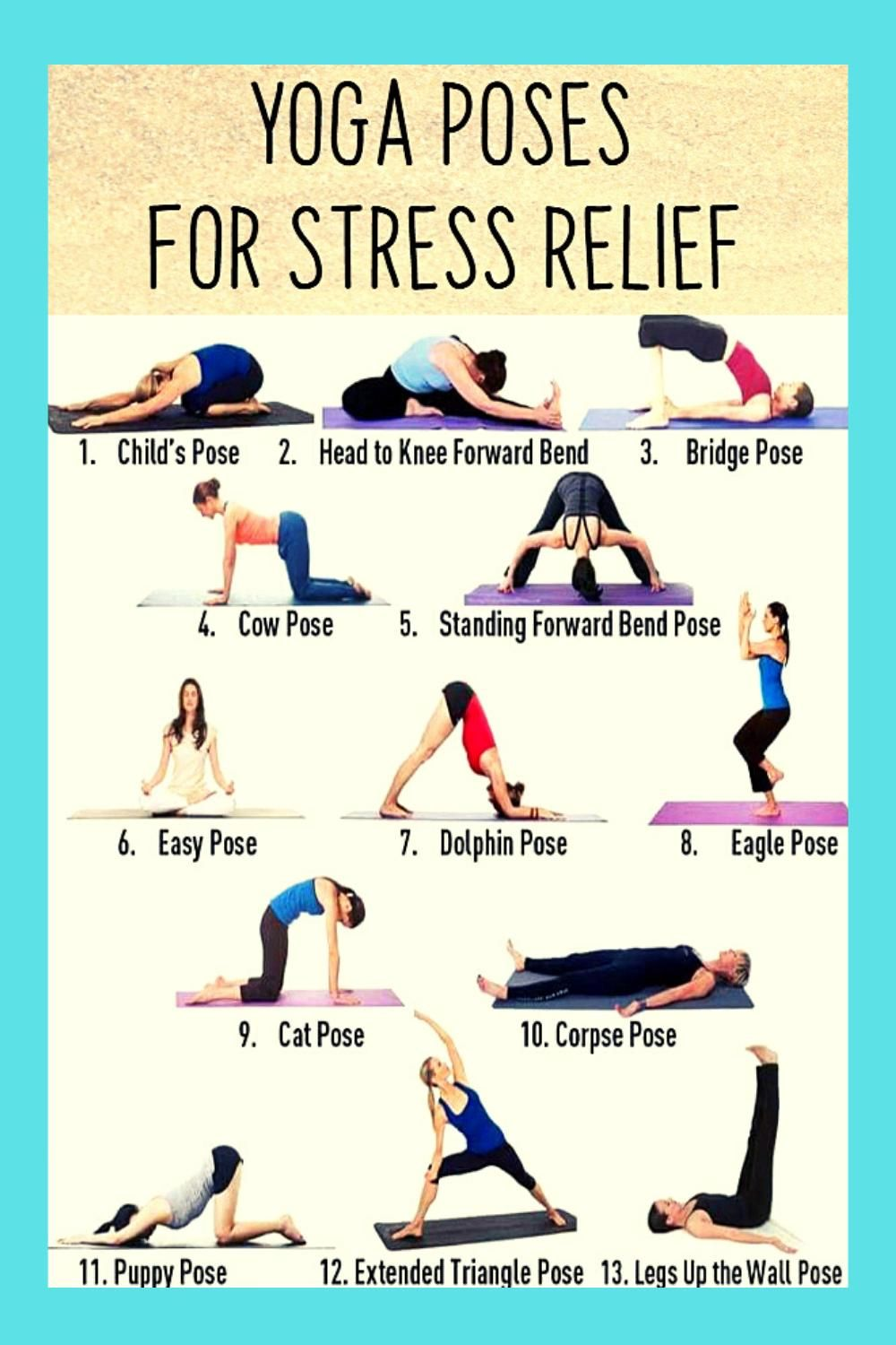 Best Yoga Poses For Stress Relief For Women S Men S And Kids Video In 2021 Yoga Poses Yoga Poses For Beginners Easy Yoga Poses