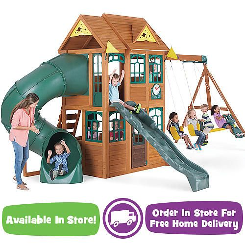 Superbe Big Backyard Premium Collection Charleston Lodge Wood Swing Set