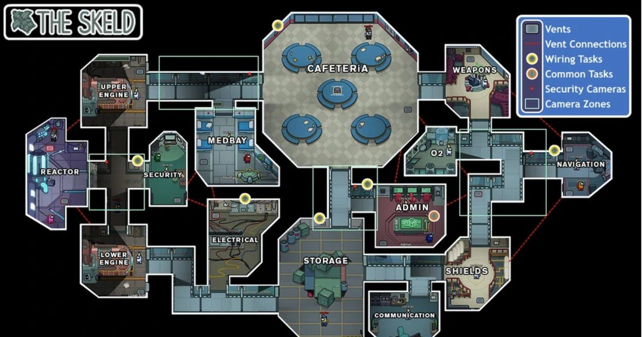 How Well Do You Know The Skeld Map In Among Us Map Games Map Layout Us Map