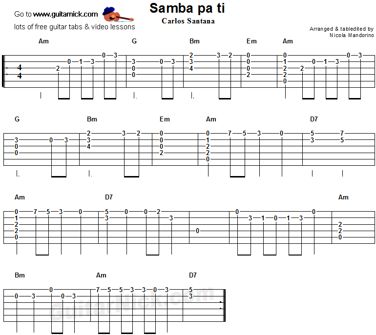 Samba Pa Ti Flatpicking Guitar Tab Guitar Pinterest Guitars