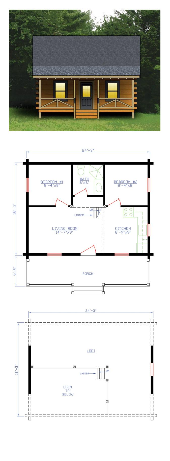 Log home plan 74102 total living area 744 sq ft 2 for House plans with guest suite