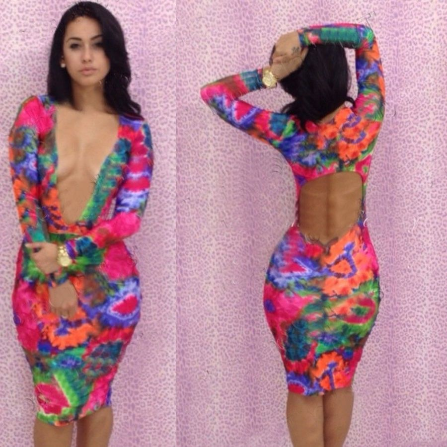 HOT NEW SEXY FLORAL DEEP V STRETCH BANDAGE COCKTAIL BODYCON DRESS ...
