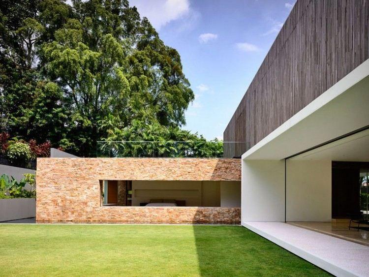 stores ext rieurs en bois fa ade en pierre naturelle et espace ext rieur v g talis maison d. Black Bedroom Furniture Sets. Home Design Ideas