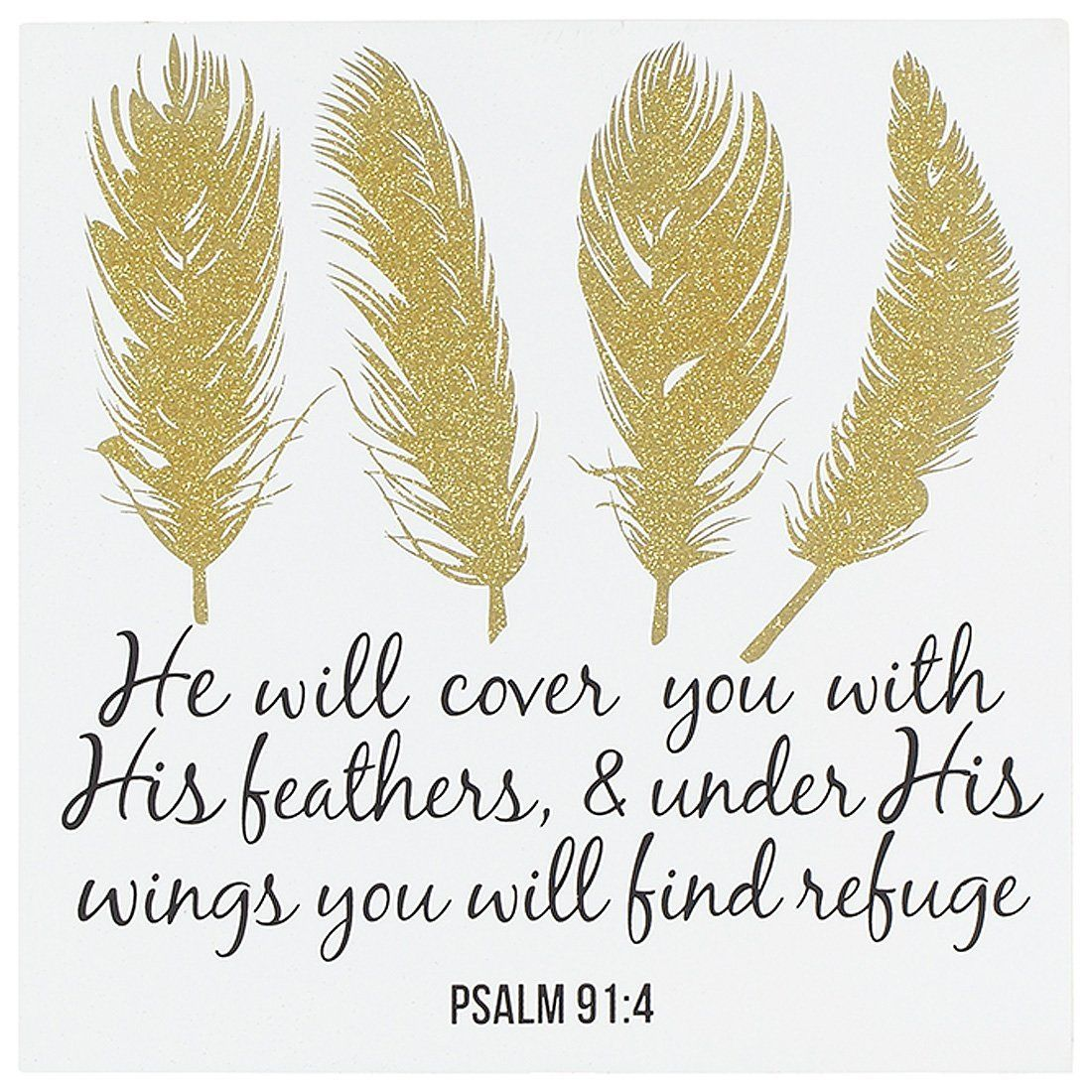 AmazonSmile: Under His Wings Find Refuge Psalm 91:4 Wood 12 x 12 ...