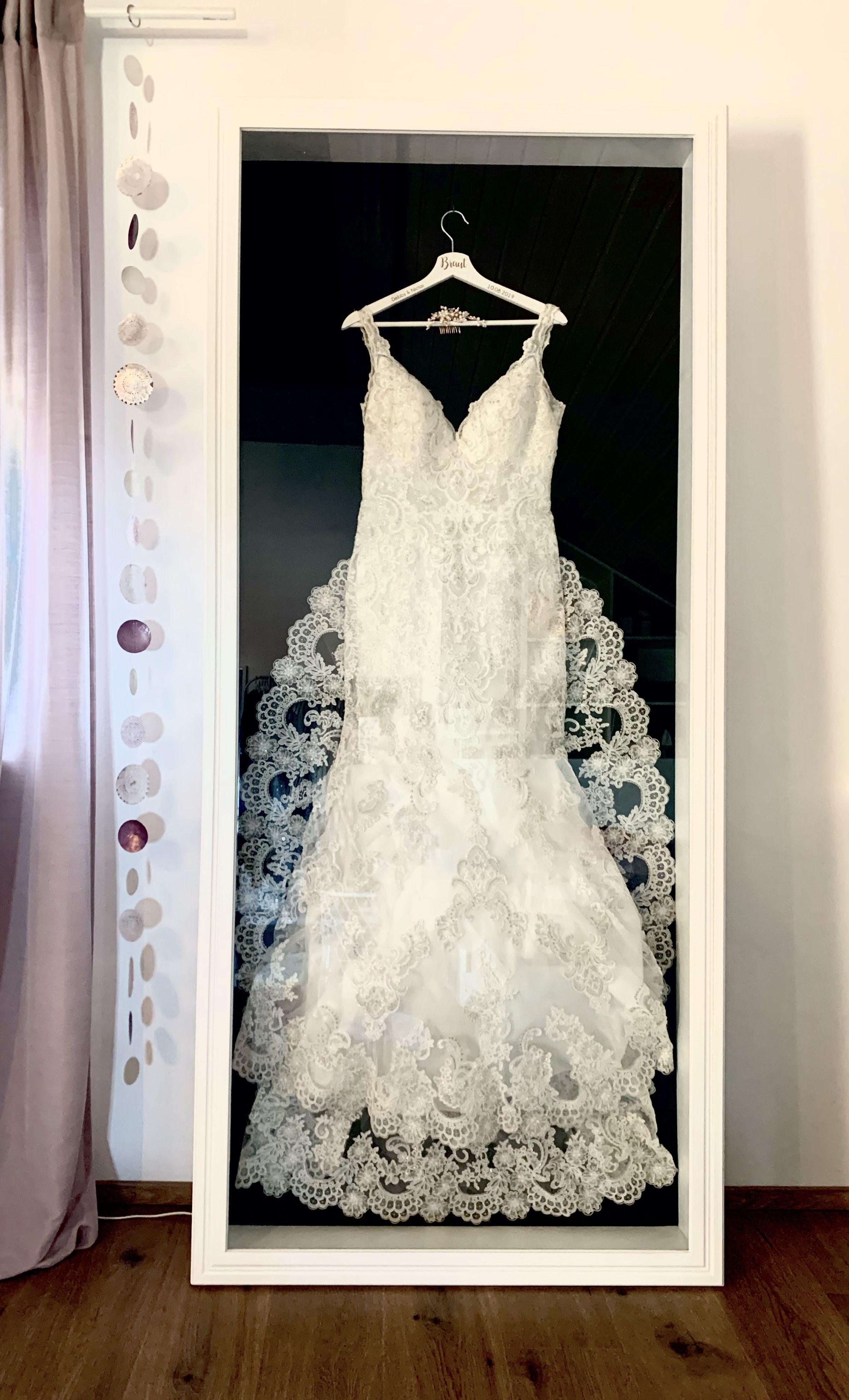 Eingerahmtes Brautkleid Hochzeitskleid Aufbewahren Brautkleid Rahmen Brautkleid