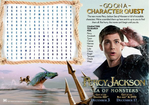Percy Jackson Sea Of Monsters Printable Word Search