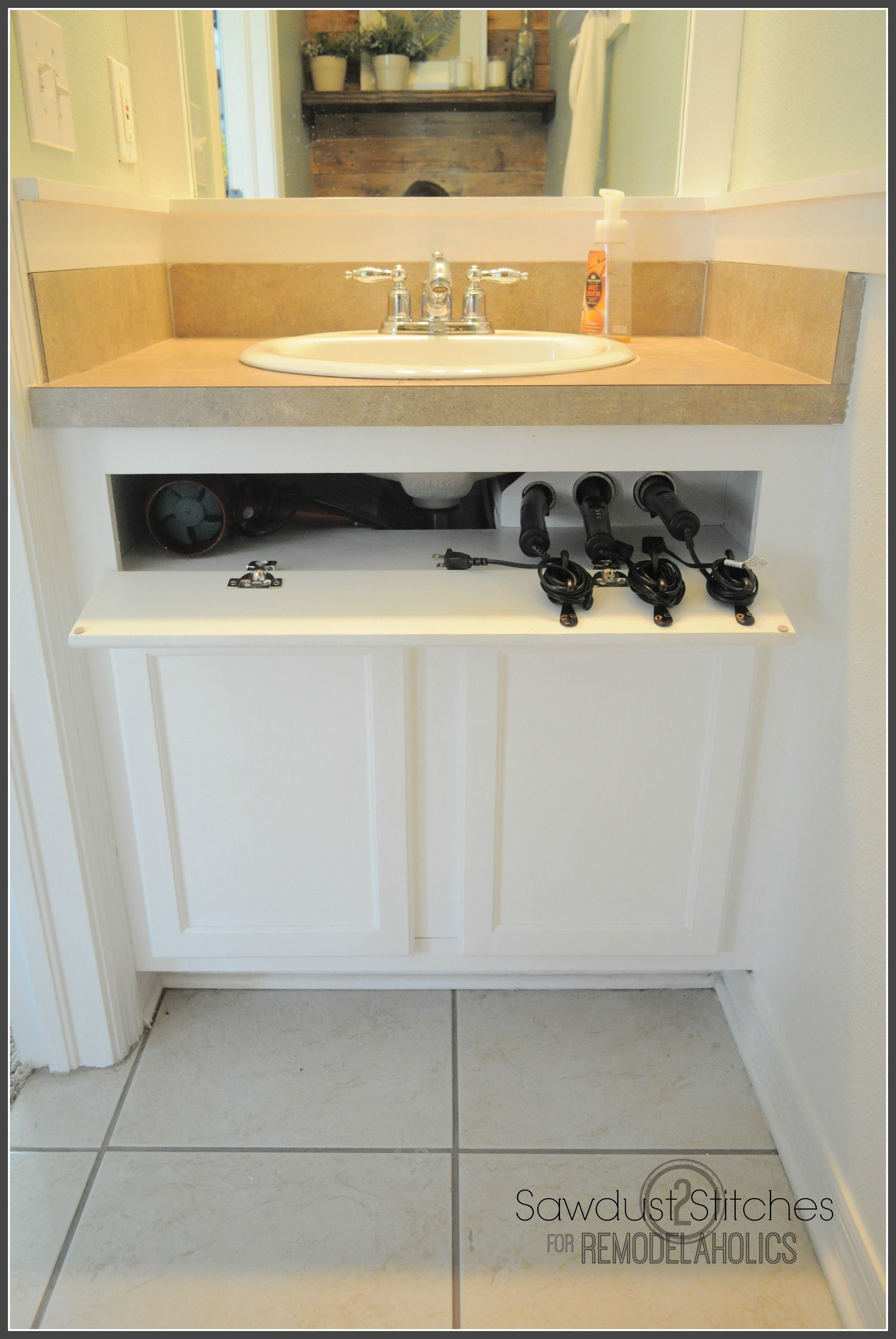 Learn To Build An Under The Sink Hair Tool Storage System To Keep Your Hair  Appliances Off The Counter    Even While They Are Still Hot!