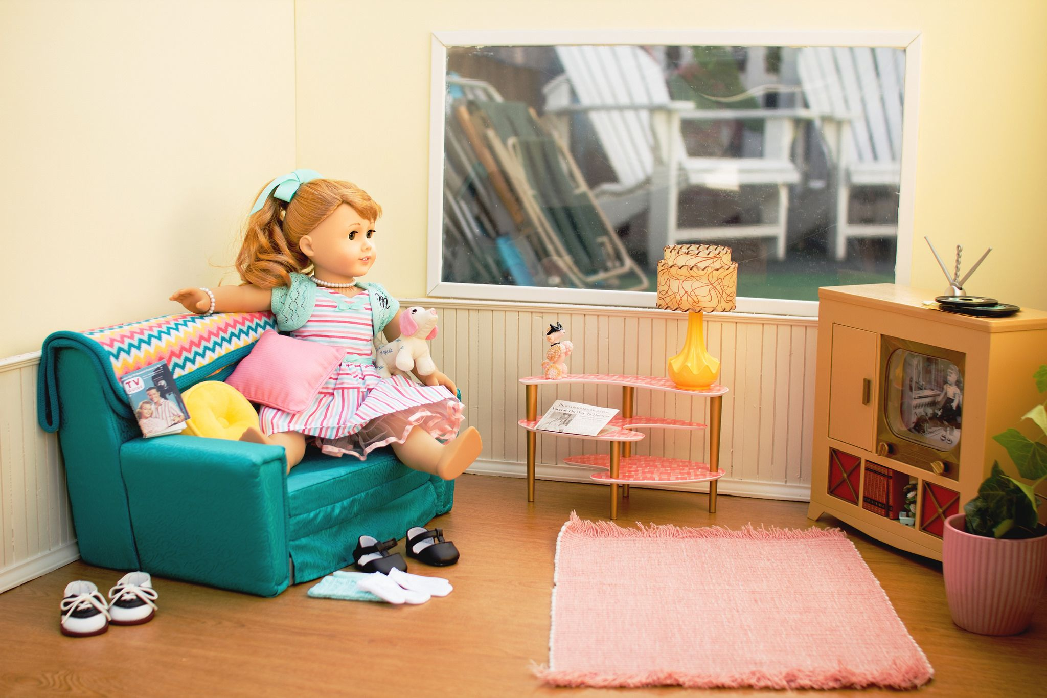 American Girl Doll Maryellen LIVING ROOM furniture SET lamp retro NEW IN BOX